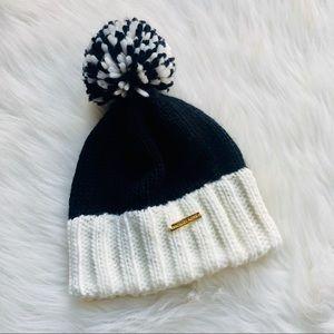Michael Kors Pom-Pom Knit Hat Black White/Cream